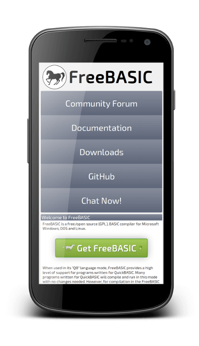 The Mobile view of the new FreeBASIC Website