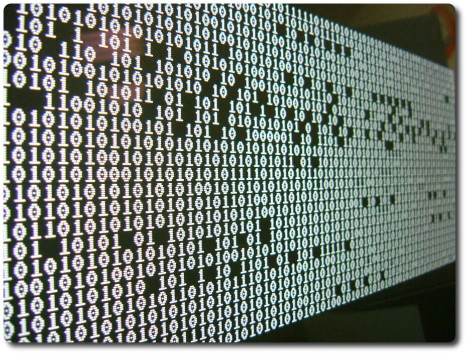 Binary numbers displayed on a large screen