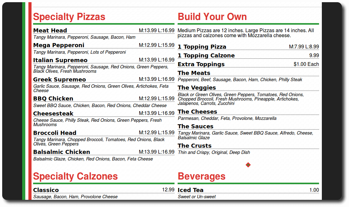 Screenshot showing a pizza menu